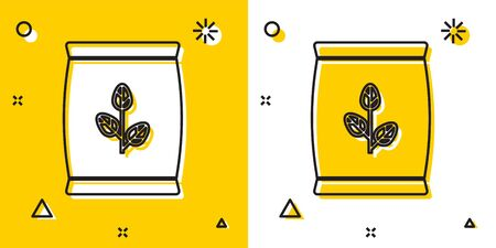 Black Fertilizer bag icon isolated on yellow and white background. Random dynamic shapes. Vector Illustration