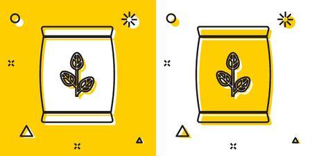 Black Fertilizer bag icon isolated on yellow and white background. Random dynamic shapes. Vector Illustration