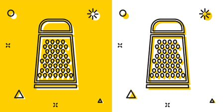 Black Grater icon isolated on yellow and white background. Kitchen symbol. Cooking utensil. Cutlery sign. Random dynamic shapes. Vector Illustration