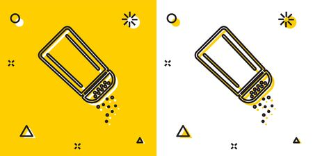 Black Salt and pepper icon isolated on yellow and white background. Cooking spices. Random dynamic shapes. Vector Illustration Stock Illustratie