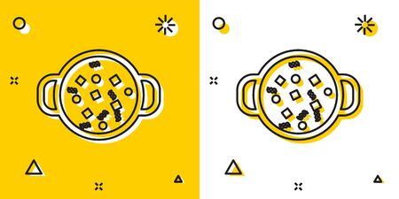 Black Cooking soup in pot icon isolated on yellow and white background. Boil or stew food symbol. Random dynamic shapes. Vector Illustration