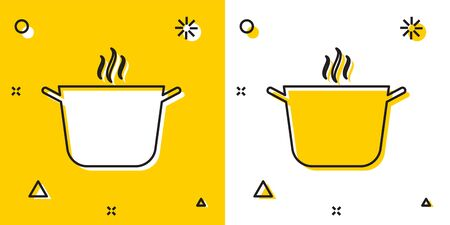 Black Cooking pot icon isolated on yellow and white background. Boil or stew food symbol. Random dynamic shapes. Vector Illustration Çizim