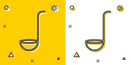 Black Kitchen ladle icon isolated on yellow and white background. Cooking utensil. Cutlery spoon sign. Random dynamic shapes. Vector Illustration Çizim