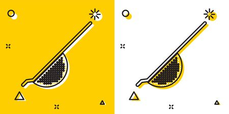 Black Kitchen colander icon isolated on yellow and white background. Cooking utensil. Cutlery sign. Random dynamic shapes. Vector Illustration Vettoriali