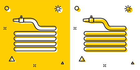 Black Garden hose or fire hose icon isolated on yellow and white background. Spray gun icon. Watering equipment. Random dynamic shapes. Vector Illustration Stock Illustratie