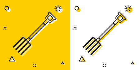 Black Garden pitchfork icon isolated on yellow and white background. Garden fork sign. Tool for horticulture, agriculture, farming. Random dynamic shapes. Vector Illustration