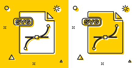 Black SVG file document. Download svg button icon isolated on yellow and white background. SVG file symbol. Random dynamic shapes. Vector Illustration 写真素材 - 132834566
