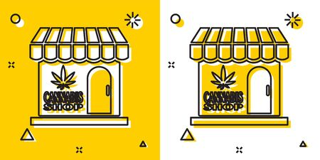 Black Marijuana and cannabis store icon isolated on yellow and white background. Equipment and accessories for smoking, storing medical cannabis. Random dynamic shapes. Vector Illustration