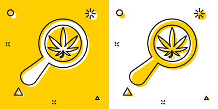 Black Magnifying glass and medical marijuana or cannabis leaf icon isolated on yellow and white background. Hemp symbol. Random dynamic shapes. Vector Illustration Illustration