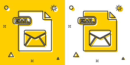 Black EML file document. Download eml button icon isolated on yellow and white background. EML file symbol. Random dynamic shapes. Vector Illustration