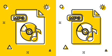 Black MP3 file document. Download mp3 button icon isolated on yellow and white background. Mp3 music format sign. MP3 file symbol. Random dynamic shapes. Vector Illustration Stock Illustratie