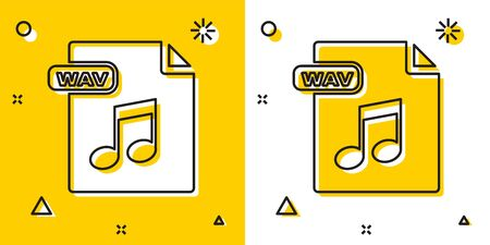 Black WAV file document. Download wav button icon isolated on yellow and white background. WAV waveform audio file format for digital audio riff files. Random dynamic shapes. Vector Illustration
