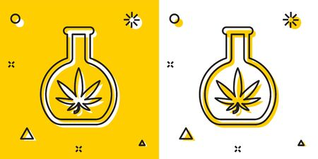 Black Chemical test tube with marijuana or cannabis leaf icon isolated on yellow and white background. Research concept. Laboratory CBD oil concept. Random dynamic shapes. Vector Illustration