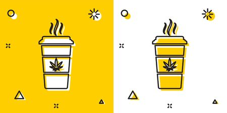Black Cup coffee with marijuana or cannabis leaf icon isolated on yellow and white background. Marijuana legalization. Hemp symbol. Random dynamic shapes. Vector Illustration