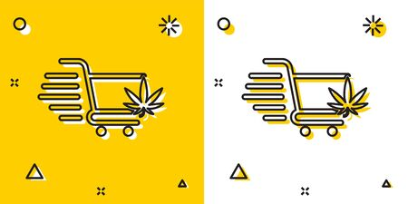 Black Shopping cart with marijuana or cannabis leaf icon isolated on yellow and white background. Online buying. Delivery service. Supermarket basket. Random dynamic shapes. Vector Illustration