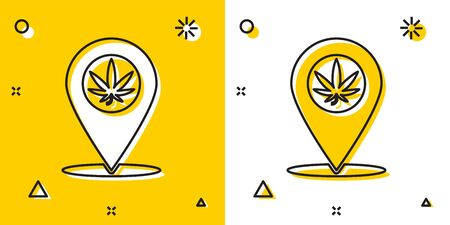 Black Map pointer and marijuana or cannabis leaf icon isolated on yellow and white background. Hemp symbol. Random dynamic shapes. Vector Illustration