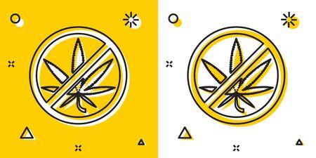 Black Stop marijuana or cannabis leaf icon isolated on yellow and white background. No smoking marijuana. Hemp symbol. Random dynamic shapes. Vector Illustration