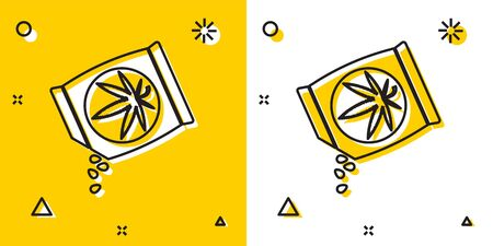 Black Marijuana or cannabis seeds in a bag icon isolated on yellow and white background. Hemp symbol. The process of planting marijuana. Random dynamic shapes. Vector Illustration