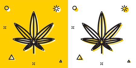 Black Medical marijuana or cannabis leaf icon isolated on yellow and white background. Hemp symbol. Random dynamic shapes. Vector Illustration Illustration