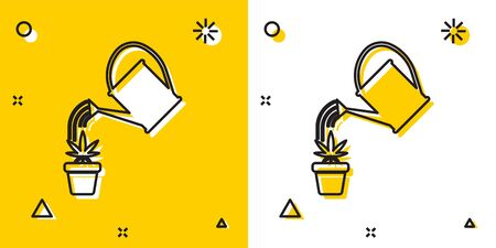 Black Watering can sprays water drops above marijuana or cannabis plant in pot icon isolated on yellow and white background. Marijuana growing concept. Random dynamic shapes. Vector Illustration