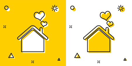 Black House with heart shape icon isolated on yellow and white background. Love home symbol. Family, real estate and realty. Random dynamic shapes. Vector Illustration