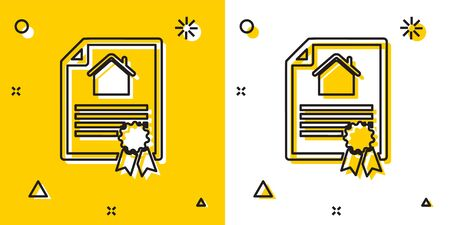 Black House contract icon isolated on yellow and white background. Contract creation service, document formation, application form composition. Random dynamic shapes. Vector Illustration