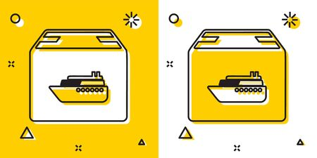 Black Cargo ship with boxes delivery service icon isolated on yellow and white background. Delivery, transportation. Freighter with parcels, boxes, goods. Random dynamic shapes. Vector Illustration Banque d'images - 132809517