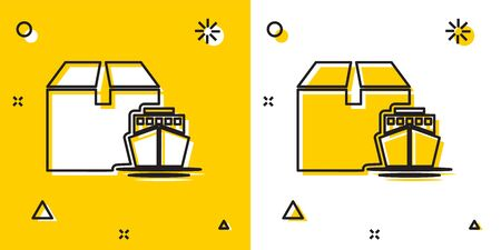 Black Cargo ship with boxes delivery service icon isolated on yellow and white background. Delivery, transportation. Freighter with parcels, boxes, goods. Random dynamic shapes. Vector Illustration Illustration