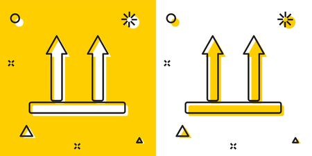 Black This side up icon isolated on yellow and white background. Two arrows indicating top side of packaging. Cargo handled so these arrows always point up. Random dynamic shapes. Vector Illustration Illustration