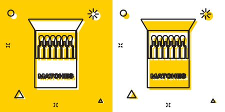 Black Open matchbox and matches icon isolated on yellow and white background. Random dynamic shapes. Vector Illustration
