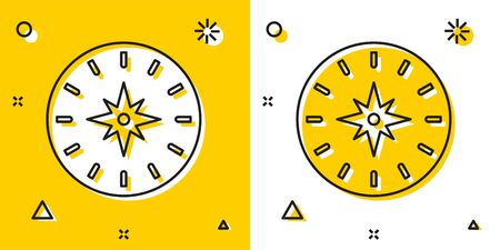 Black Compass icon isolated on yellow and white background. Windrose navigation symbol. Wind rose sign. Random dynamic shapes. Vector Illustration