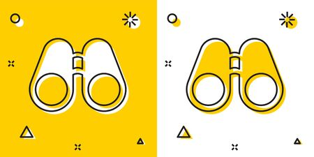 Black Binoculars icon isolated on yellow and white background. Find software sign. Spy equipment symbol. Random dynamic shapes. Vector Illustration