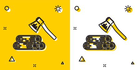 Black Wooden axe and wood icon isolated on yellow and white background. Lumberjack axe. Random dynamic shapes. Vector Illustration