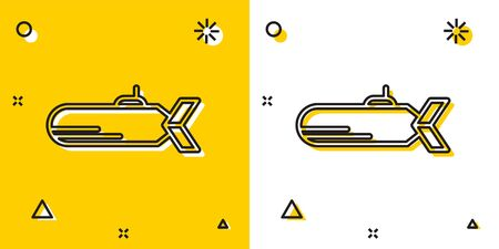 Black Submarine icon isolated on yellow and white background. Military ship. Random dynamic shapes. Vector Illustration Illusztráció