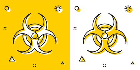 Black Biohazard symbol icon isolated on yellow and white background. Random dynamic shapes. Vector Illustration