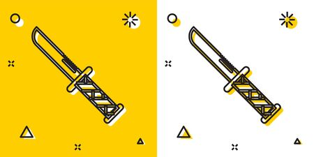 Black Military knife icon isolated on yellow and white background. Random dynamic shapes. Vector Illustration