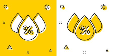 Black Water drop percentage icon isolated on yellow and white background. Humidity analysis. Random dynamic shapes. Vector Illustration