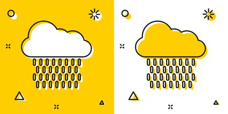 Black Cloud with rain icon isolated on yellow and white background. Rain cloud precipitation with rain drops. Random dynamic shapes. Vector Illustration Иллюстрация