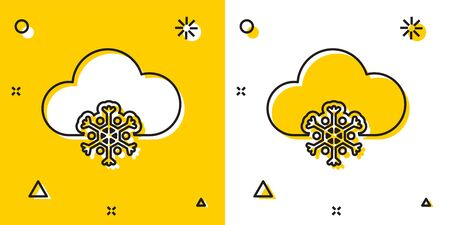Black Cloud with snow icon isolated on yellow and white background. Cloud with snowflakes. Single weather icon. Snowing sign. Random dynamic shapes. Vector Illustration