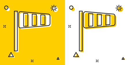 Black Cone meteorology windsock wind vane icon isolated on yellow and white background. Windsock indicate the direction and strength of the wind. Random dynamic shapes. Vector Illustration