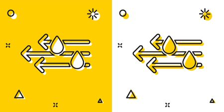 Black Wind and rain icon isolated on yellow and white background. Windy weather. Random dynamic shapes. Vector Illustration Illusztráció