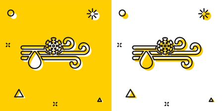 Black Wind and rain with snow icon isolated on yellow and white background. Windy weather. Random dynamic shapes. Vector Illustration