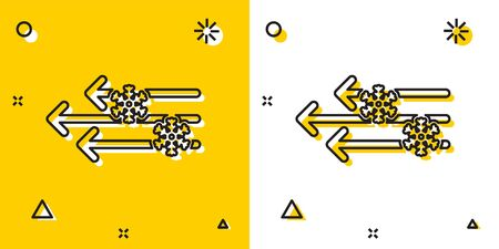 Black Wind and snow icon isolated on yellow and white background. Windy weather. Random dynamic shapes. Vector Illustration