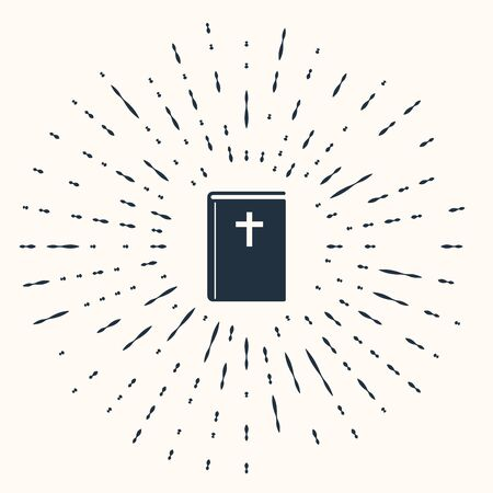 Grey Holy bible book icon isolated on beige background. Abstract circle random dots. Vector Illustration 向量圖像