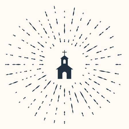 Grey Church building icon isolated on beige background. Christian Church. Religion of church. Abstract circle random dots. Vector Illustration