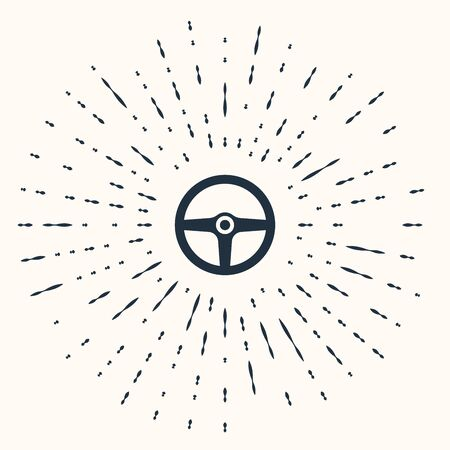 Grey Steering wheel icon isolated on beige background. Car wheel icon. Abstract circle random dots. Vector Illustration