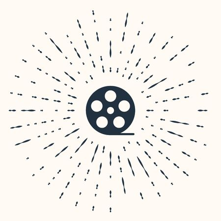 Grey Film reel icon isolated on beige background. Abstract circle random dots. Vector Illustration