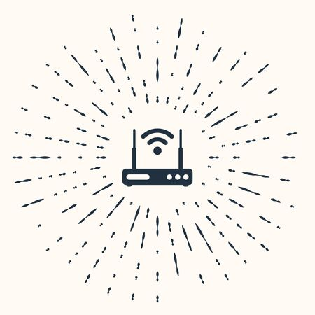 Grey Router and wifi signal symbol icon isolated on beige background. Wireless ethernet modem router. Computer technology internet. Abstract circle random dots. Vector Illustration