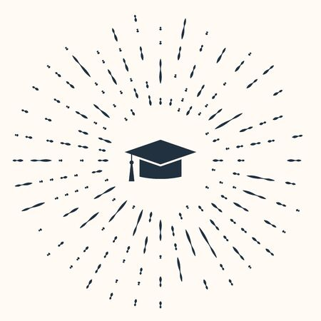 Grey Graduation cap icon isolated on beige background. Graduation hat with tassel icon. Abstract circle random dots. Vector Illustration  イラスト・ベクター素材