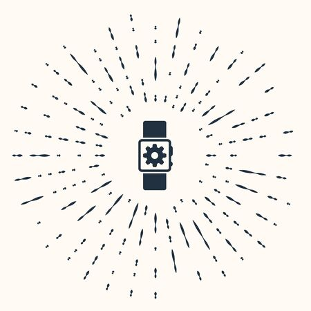 Grey Smartwatch setting icon isolated on beige background. Smart watch settings. Abstract circle random dots. Vector Illustration Standard-Bild - 132837464